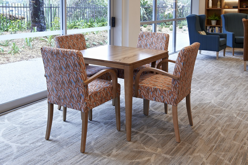 Aged Care Dining Rico Square dining Table, in retirement village dining setting