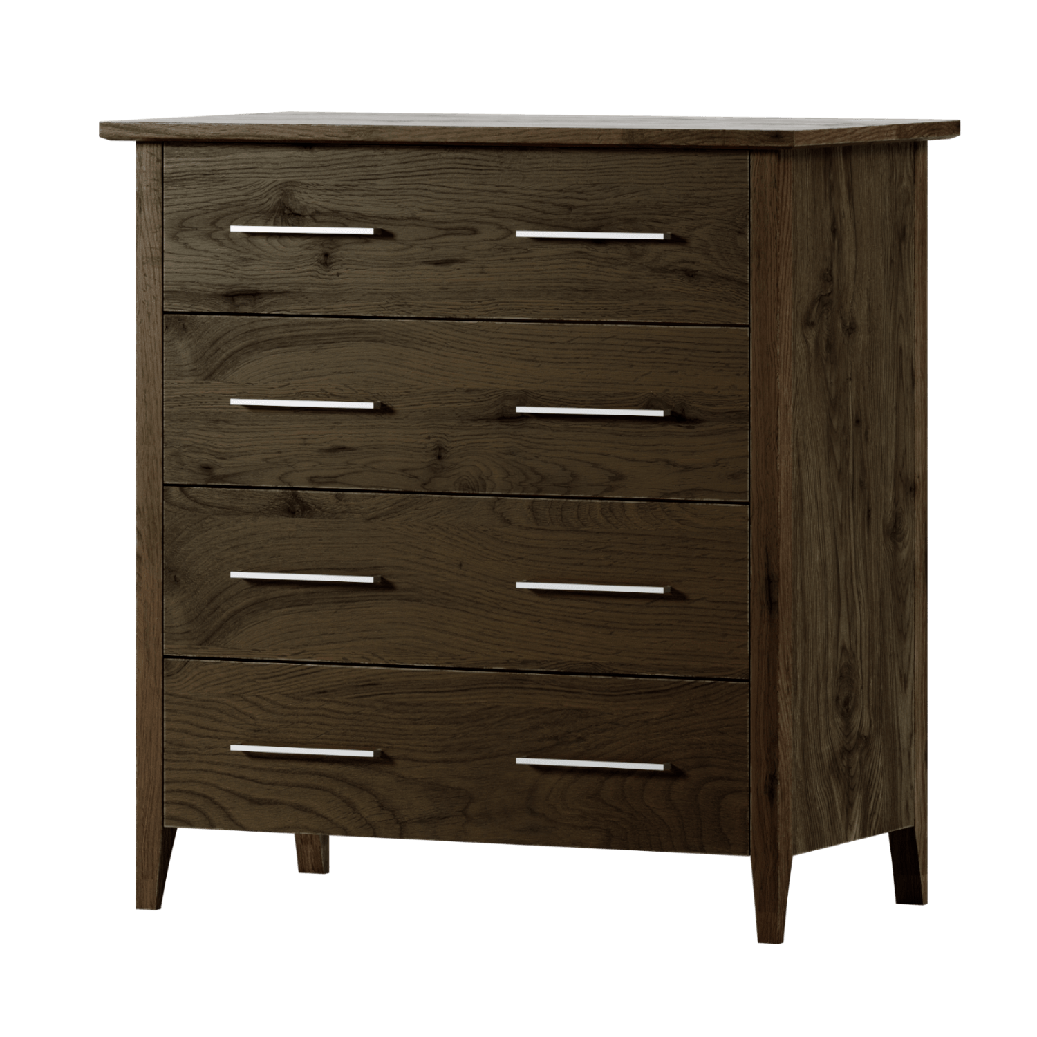 Aged Care Bedroom Rata 4 Drawer Chest, fumed oak, angle view