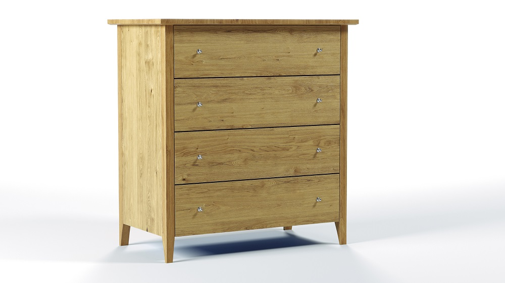 Aged Care Bedroom Furniture Rata 4 Drawer Chest, side view