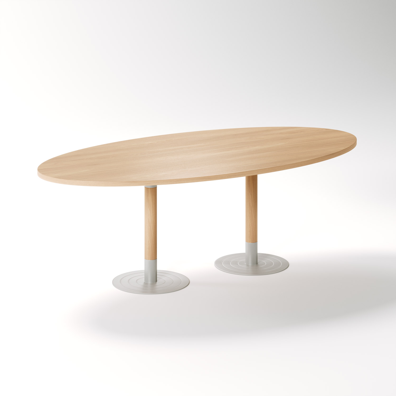 Specialised Aged Care Dining Stem Oval Table - Twin Pedestal, side view