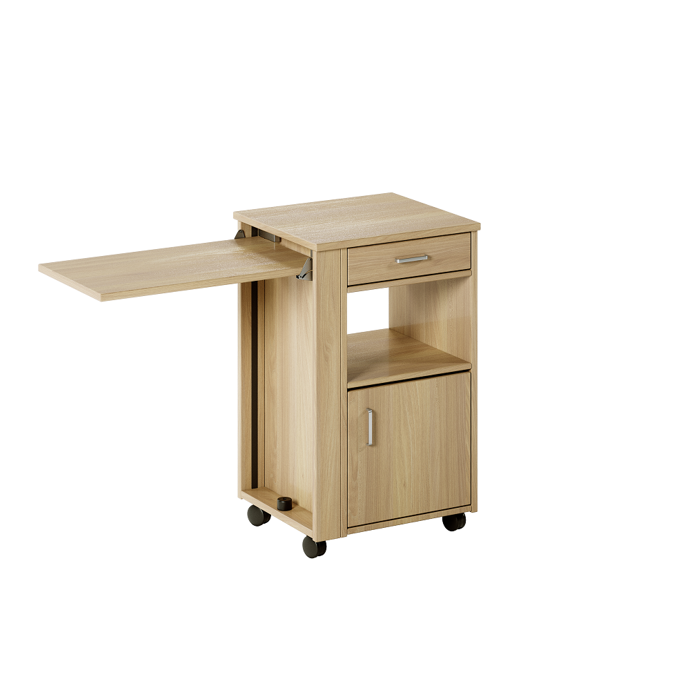 Aged Care Bedroom Ruben Bedside Cabinet with Overbed Table, angle view