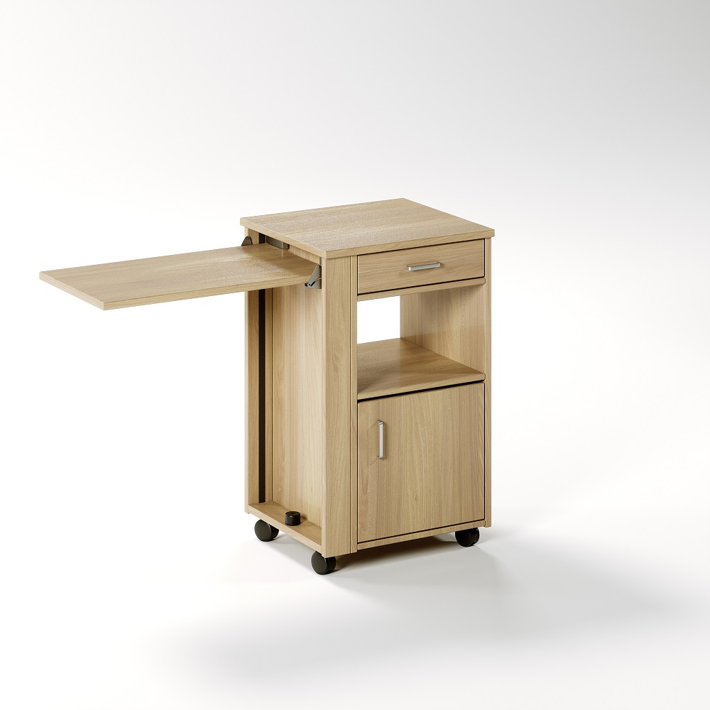 Aged Care Bedroom Ruben Bedside Cabinet with Overbed Table, side view