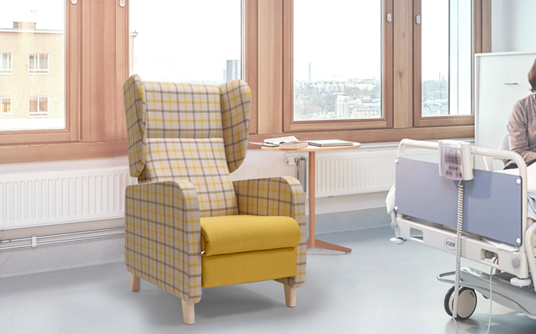 Aged Care Lounge Sage Recliner, in room setting