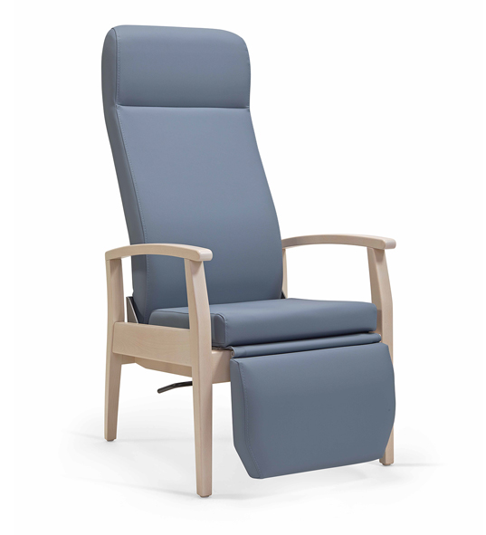 Aged Care Lounge Sage High Back Chair, side view