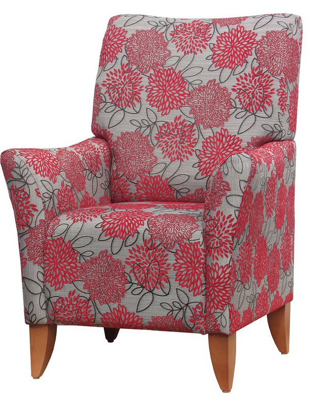 Lounge Aged Care Accent Chair red floral