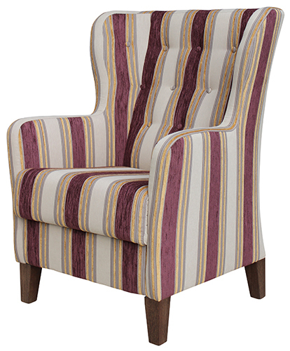 Aged Care Lounge Albany Wing Back Chair with Buttoning side view