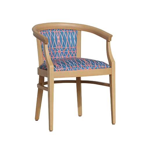 Aged Care Dining Rebecca Chair, natural, blue fabric