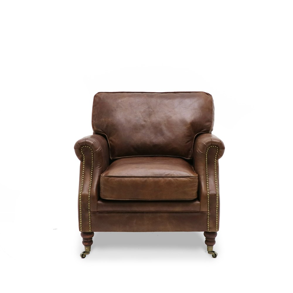 Hospitality Soft Seating Kingston Armchair, Aged brown, front view