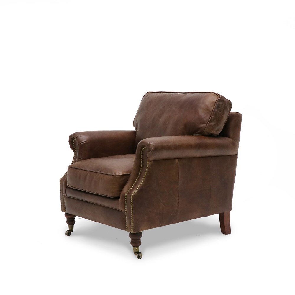 Hospitality Soft Seating Kingston Armchair, aged brown, side view