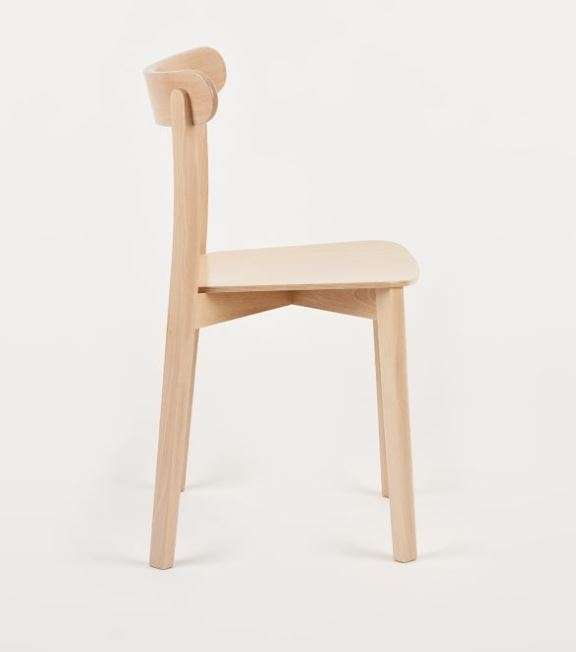 Hospitality Dining Icho Chair, side view, timber seat