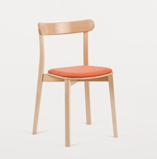 Hospitality Dining Icho Chair, angle view, upholstered seat