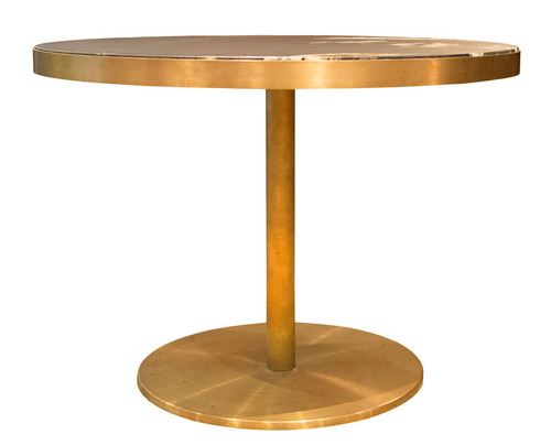 Hospitality Dining Laurent Brass and Marble Pedestal Table, front view