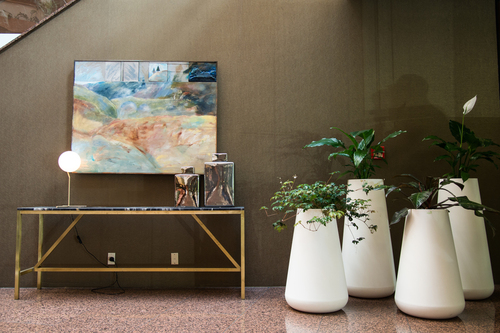Hospitality Occasional Laurent Brass and Marble Console Table in reception area setting