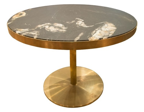 Hospitality Dining Laurent Brass and Marble Pedestal Table