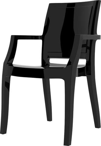 Dining Hospitality Arthur Armchair, Glossy Black
