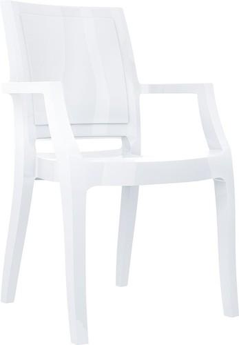 Dining Hospitality Arthur Armchair, Glossy White