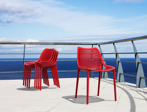 Hospitality Outdoor Air XL Chair Red Outdoor Setting