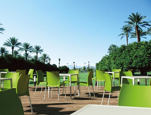 Hospitality Outdoor Vita Chair Green Setting at Restaurant