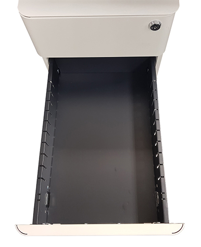 Office Hospitality Mini Mobile White, with middle drawer out