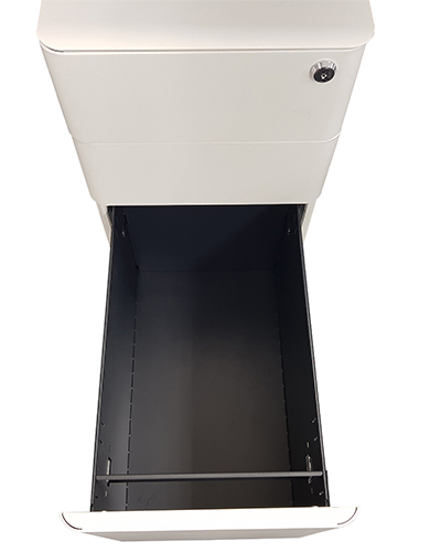 Office Hospitality Mini Mobile White, with filing drawer out