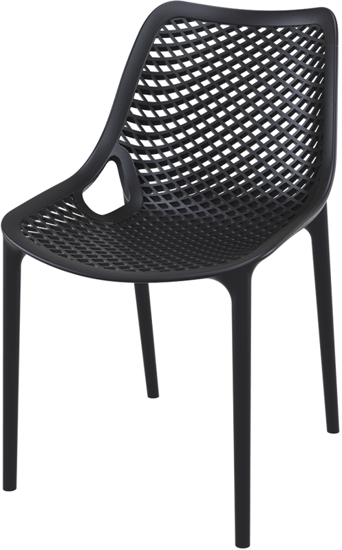 Hospitality Outdoor Air Chair Black, side view