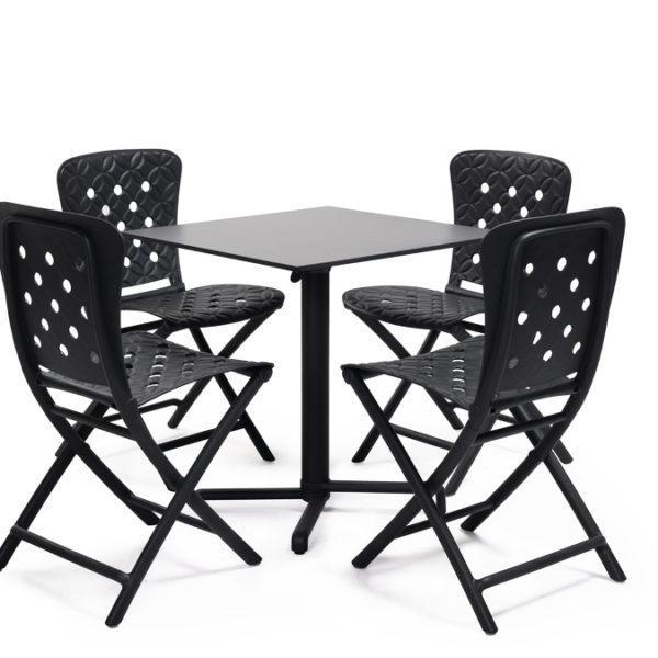 Hospitality Dining Skudo Folding Table Base, with chairs around