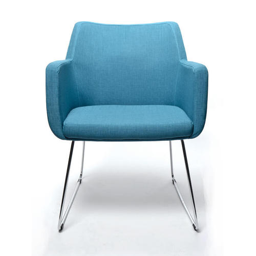 Seating Medical Hady Chair - Sled Base, front view, blue fabric