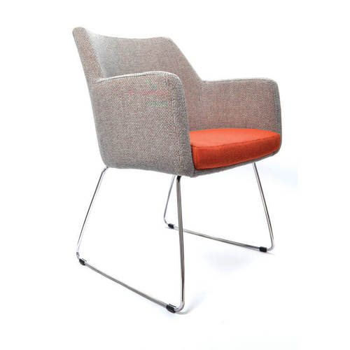Seating Medical Hady Chair - Sled Base, side view, mixed upholstery
