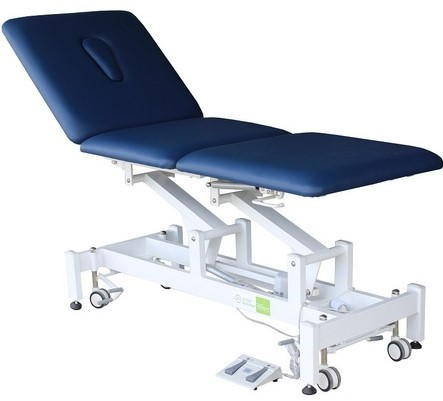 Treatment Tables Medical Medistar 3 Section Plinth, angle view, blue