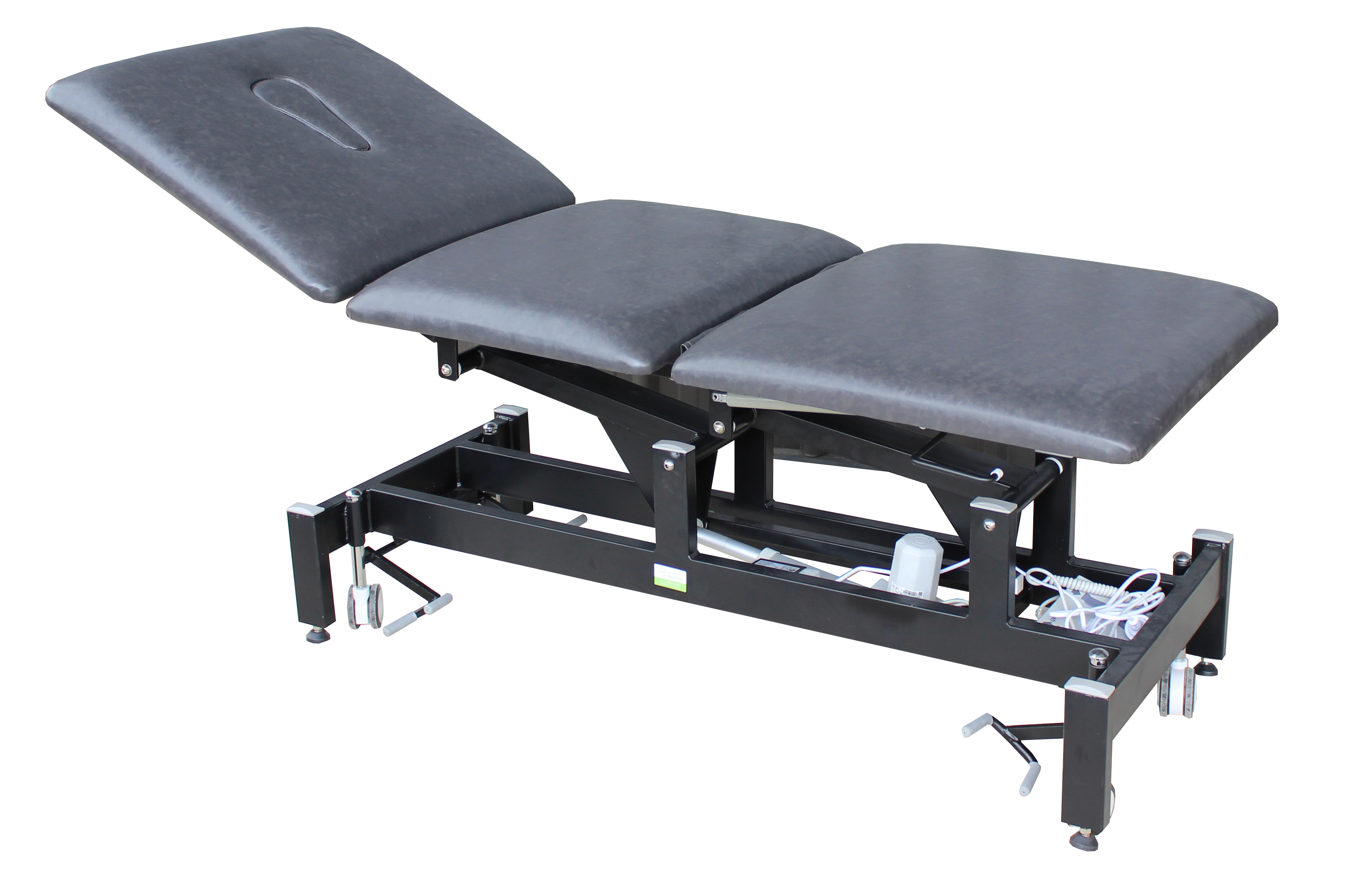 Treatment Tables Medical Medistar 3 Section Plinth, angle view, black