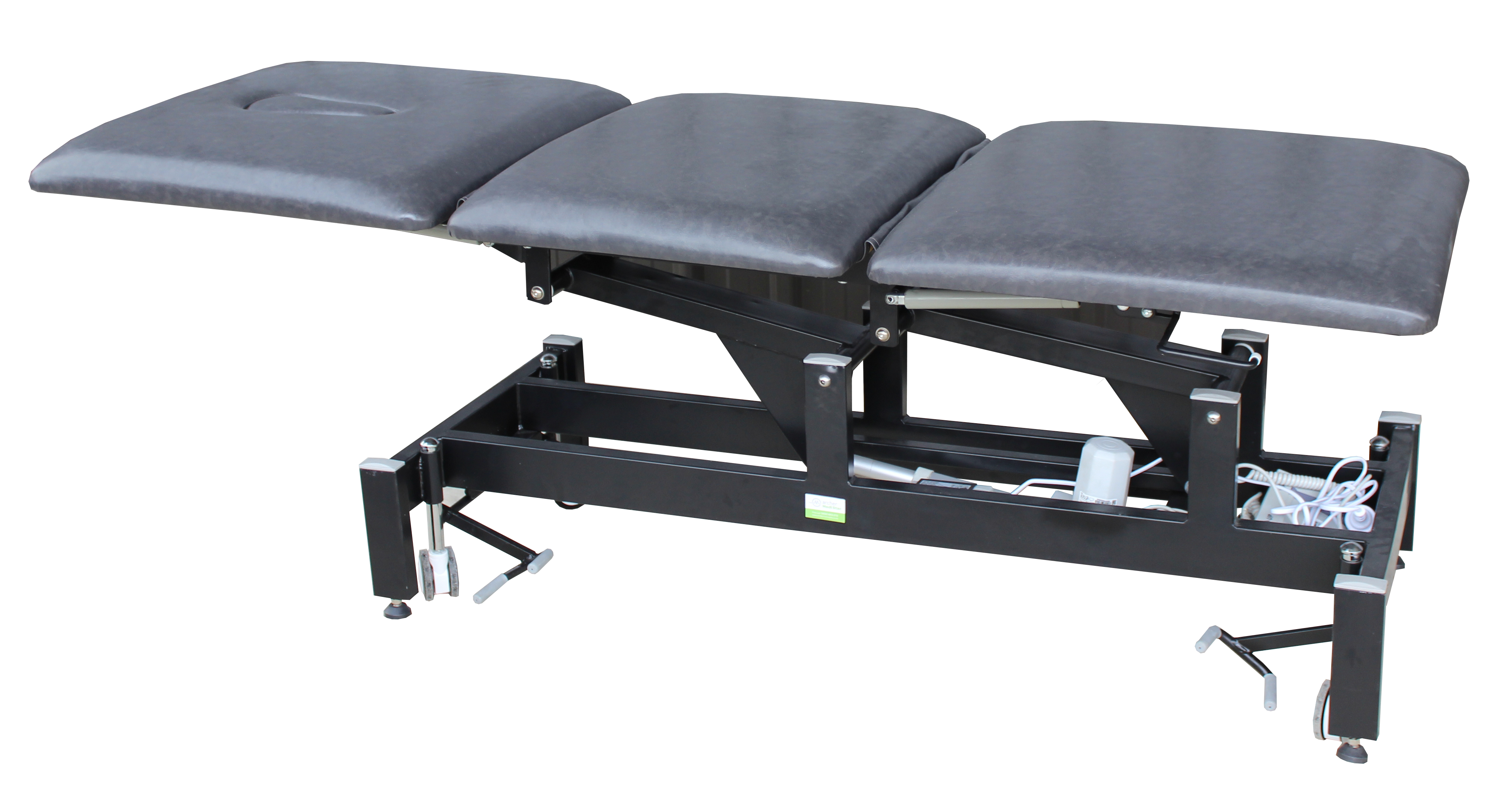 Treatment Tables Medical Medistar 3 Section Plinth, angle view, lying flat